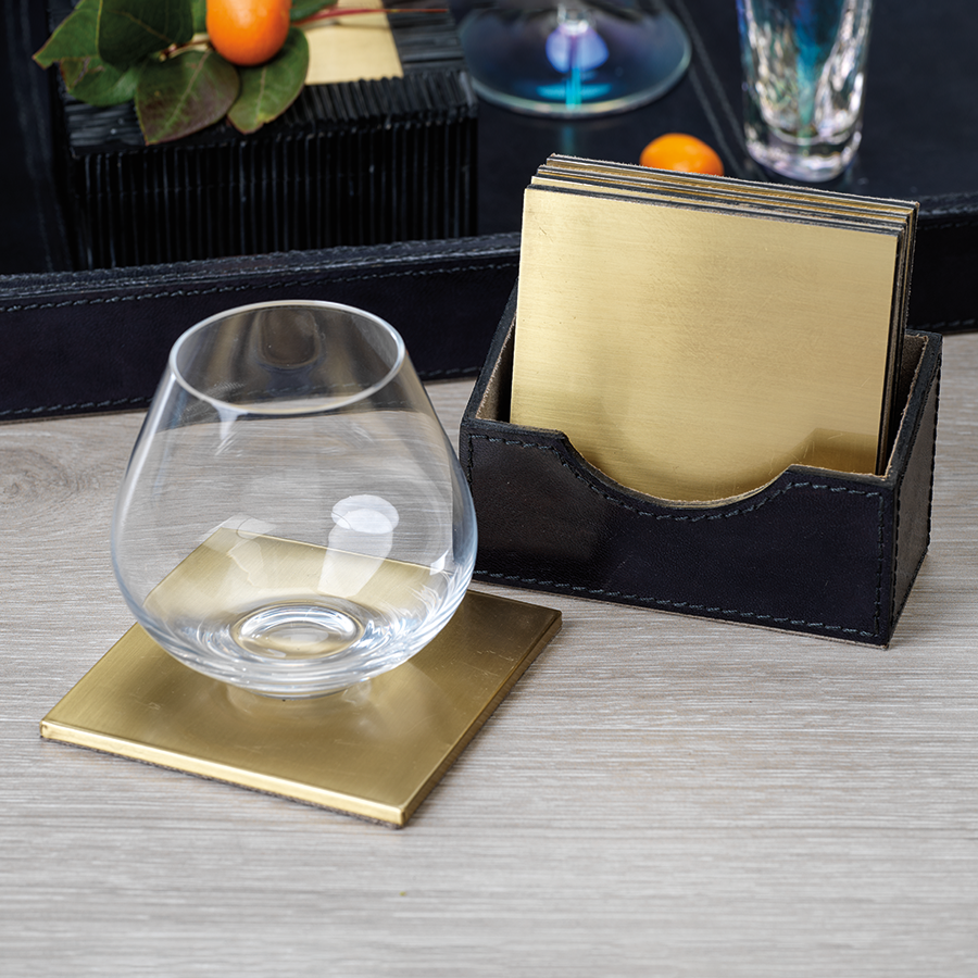 Umbra Gold Coasters in Leather Holder - S/4