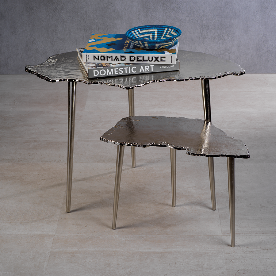 Exotic Aluminum Wood Slice Design Table - Nickel