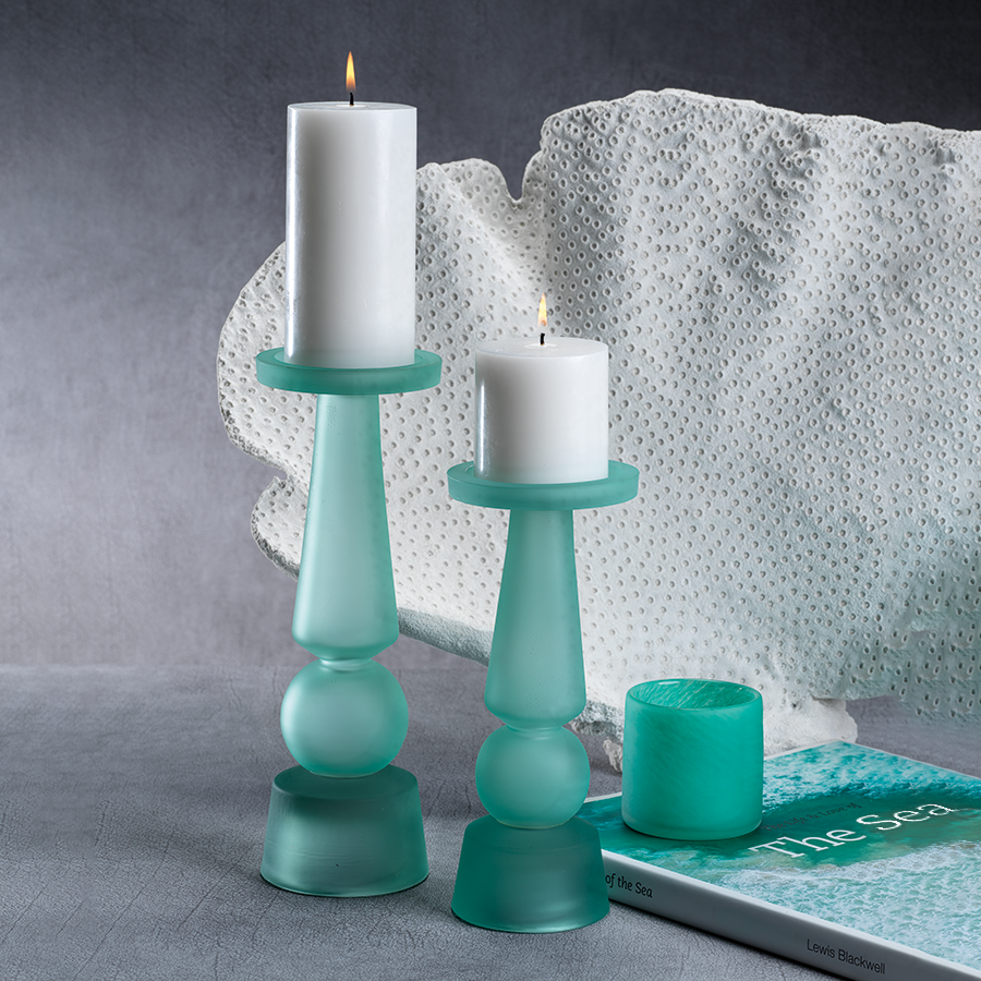 Matte Frosted Glass Pillar Holder - Sea Glass