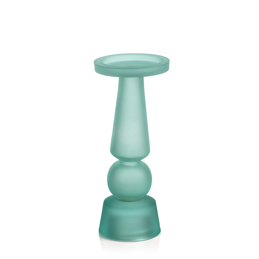 Matte Frosted Glass Pillar Holder - Seaglass