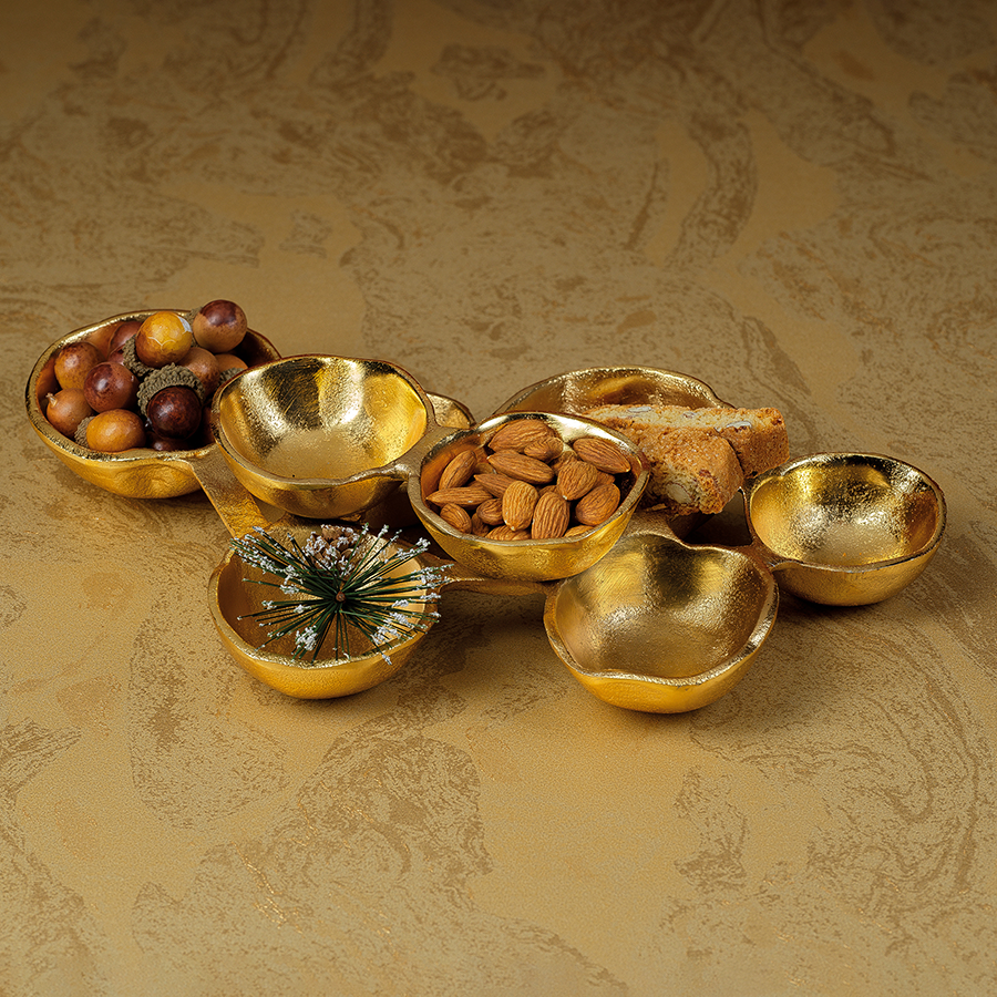Small Cluster of Nine Serving Bowls - Bright Gold