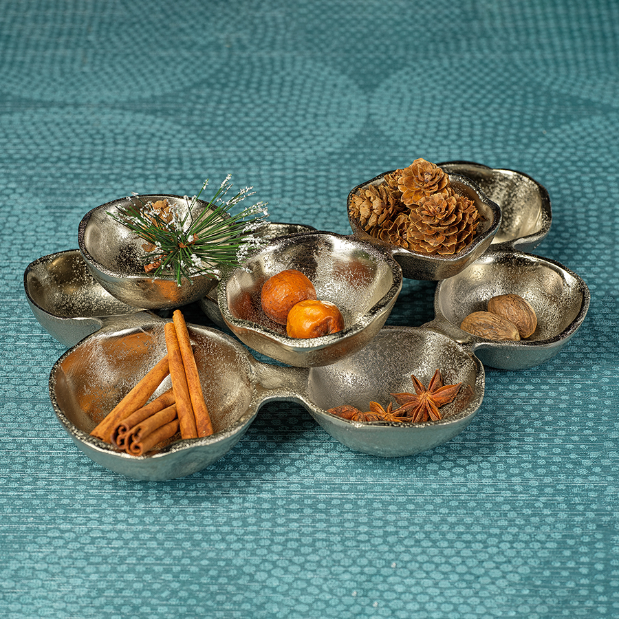 Small Cluster of Nine Serving Bowls - Nickel