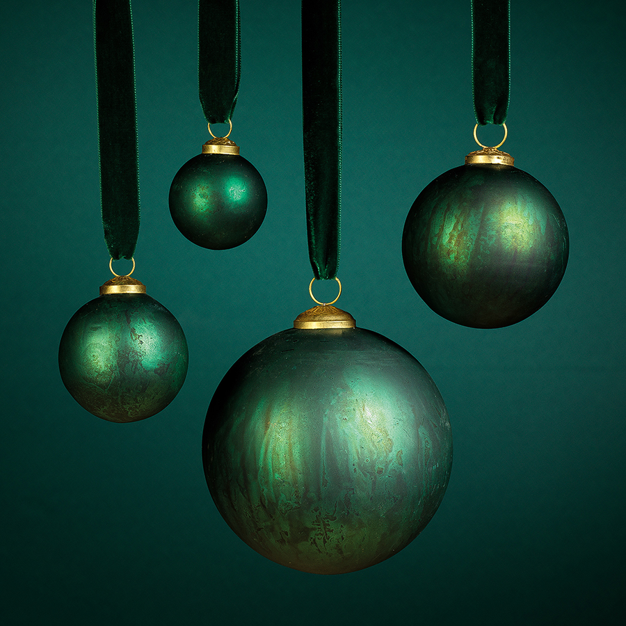 Rustic Metallic Ornament - Green