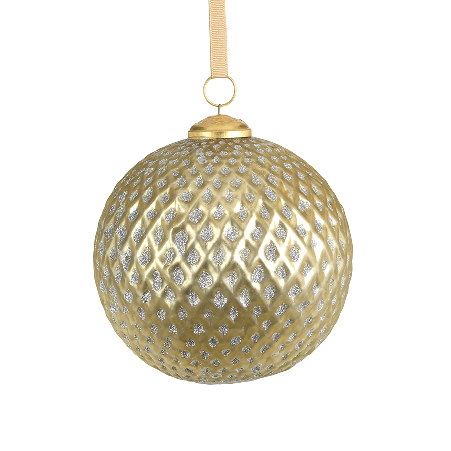 Beehive Glass Ornament - Gold w/Silver Glitter