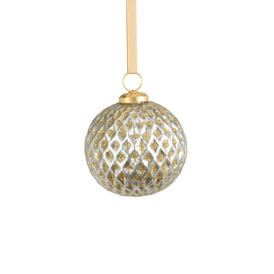 Beehive Glass Ornament - Silver w/Gold Glitter