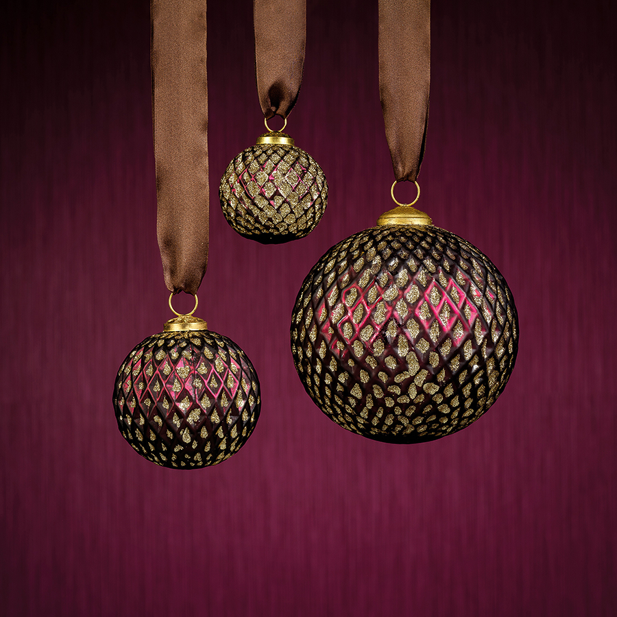 beehive Glass Ornament - Burgundy w/Gold Glitter