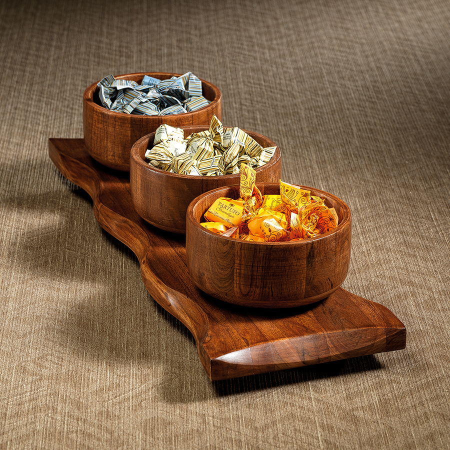 Redwood Teak Platter with 3 Bowls