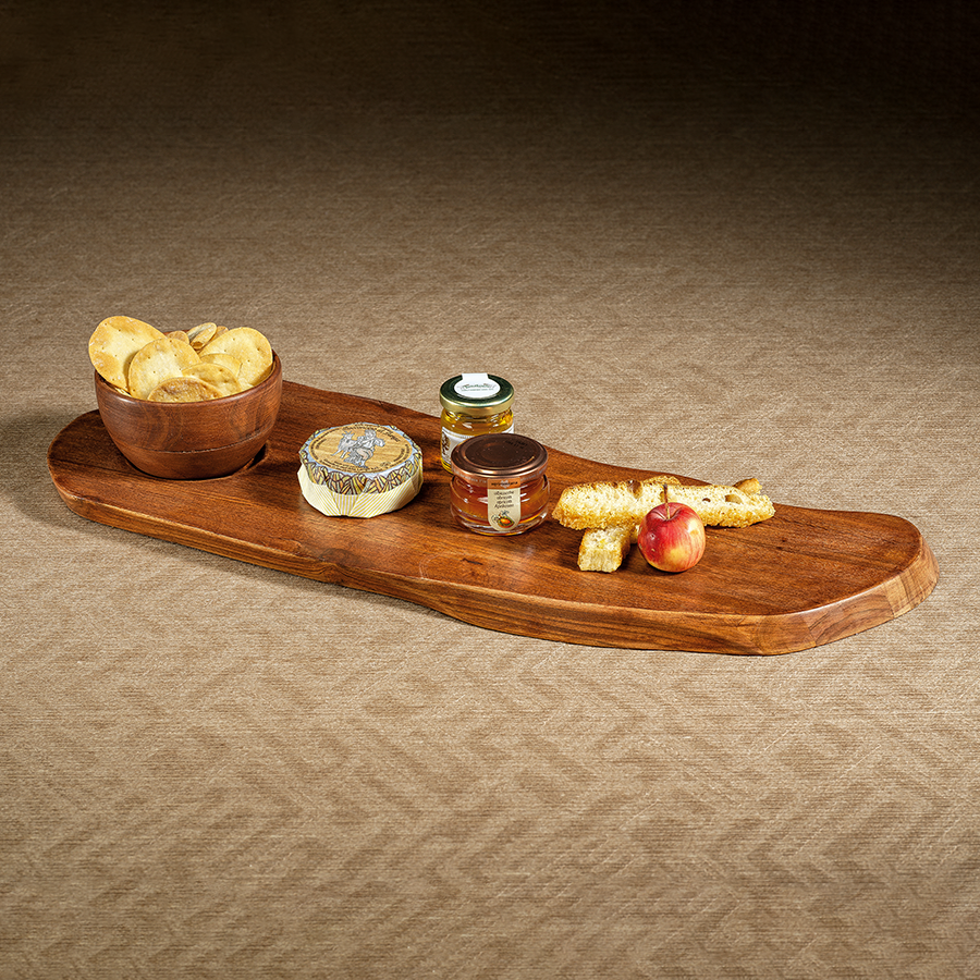 Redwood Teak Organic Shape Tray with Bowl