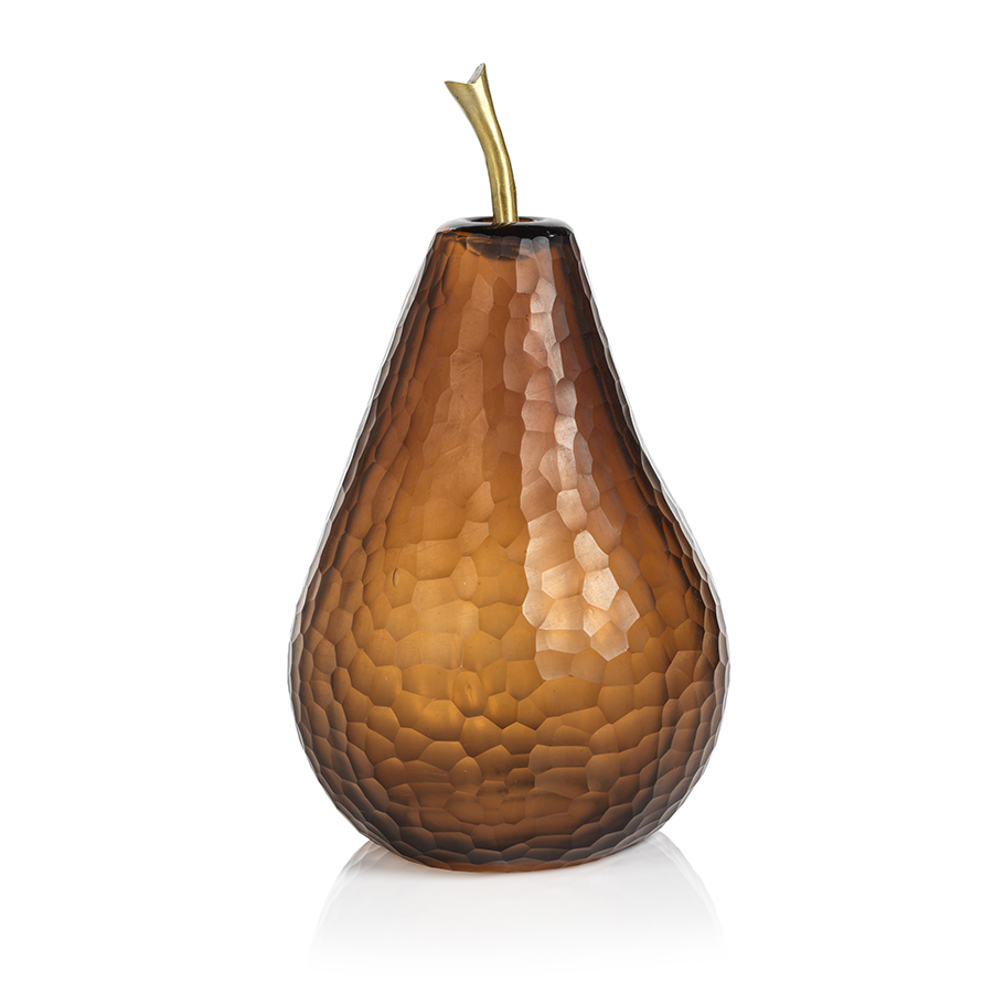Decorative Amber Cut Glass Pear