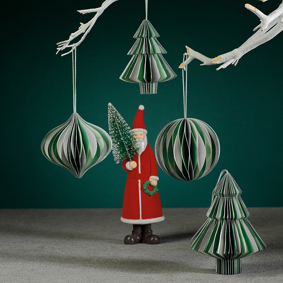 Wish Paper Decorative Ornaments - Green & Silver