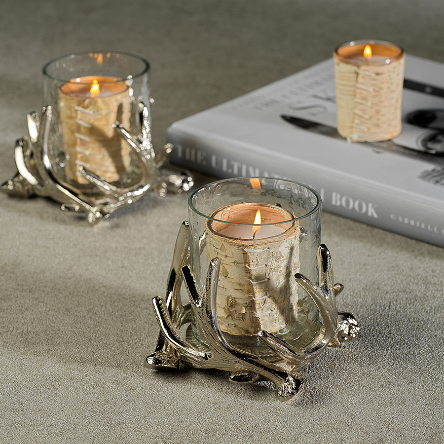 Antler Design Metal and Glass Candle Holder