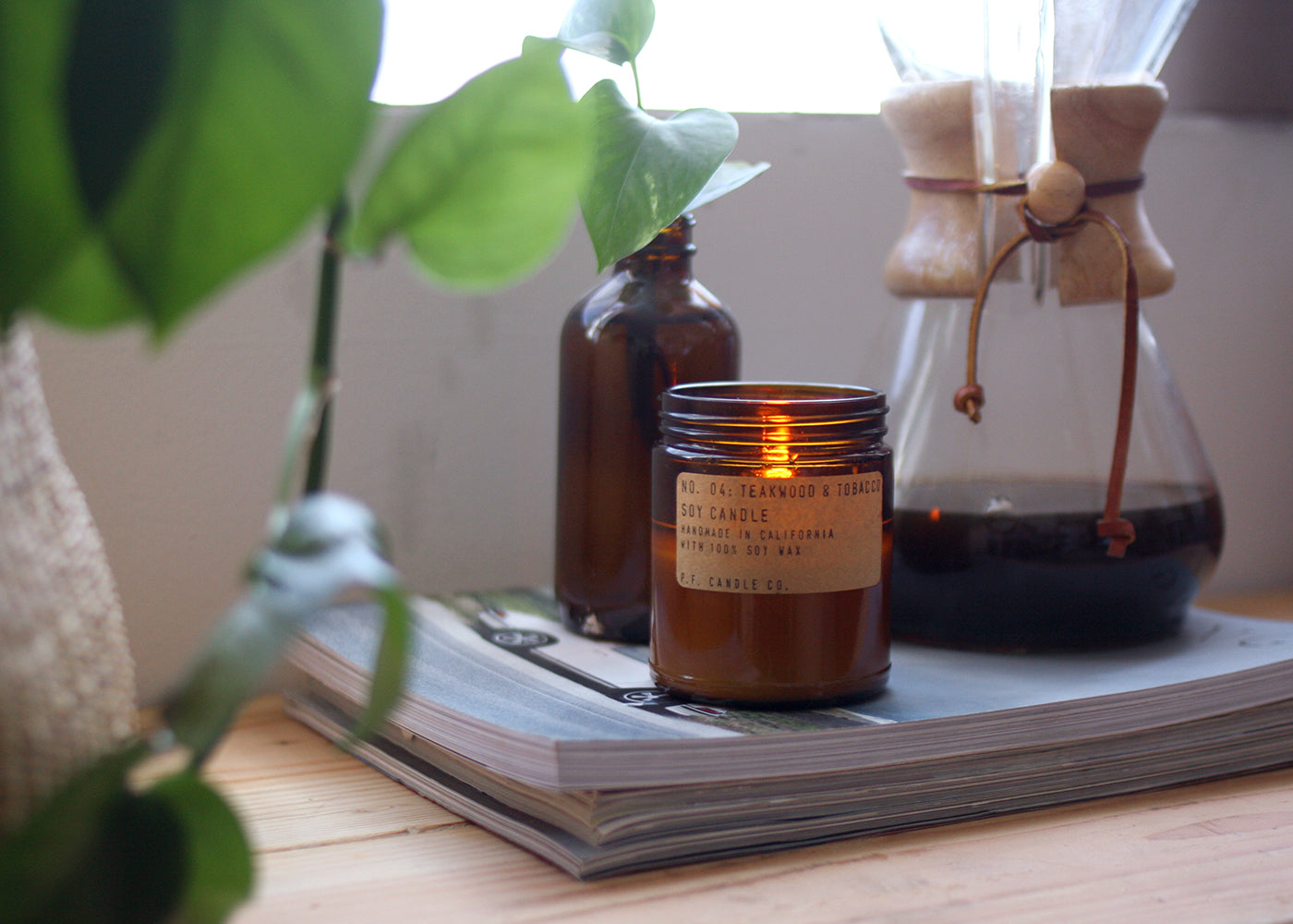 P.F. Candle Co Soy Candle Teakwood & Tobbaco