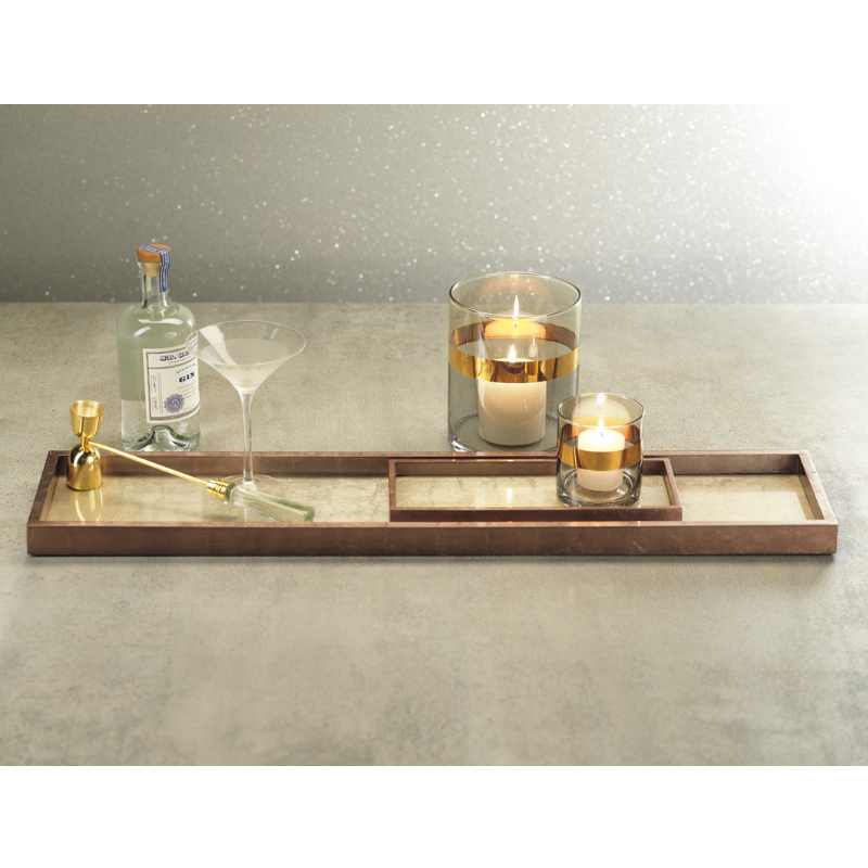 Antique Rose Gold and Silver Serving Tray - Narrow - CARLYLE AVENUE