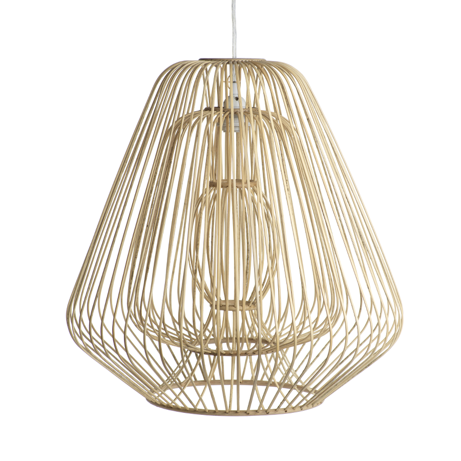 Bamboo & Rattan Layered Pendants