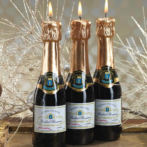 Mini Champagne Bottle Candle - Set of 6
