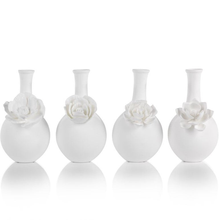 Cameo Long Neck Porcelain Bud Vases - Set of 4 - CARLYLE AVENUE