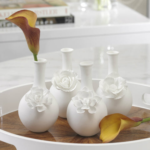 Cameo Long Neck Porcelain Bud Vases - Set of 4