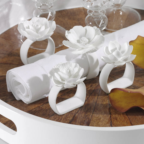 Cameo Porcelain Napkin Rings - Set of 4