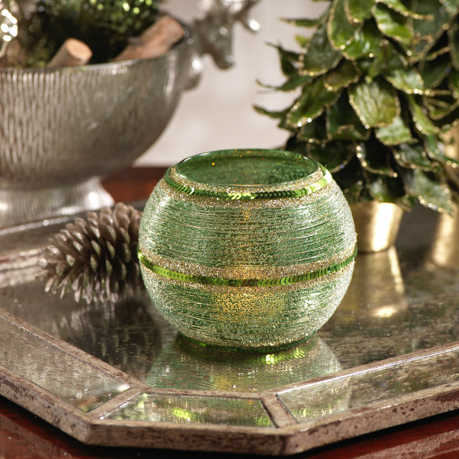 Glass Beaded Votive with Thread and Sequins - Green -  - CARLYLE AVENUE - 2