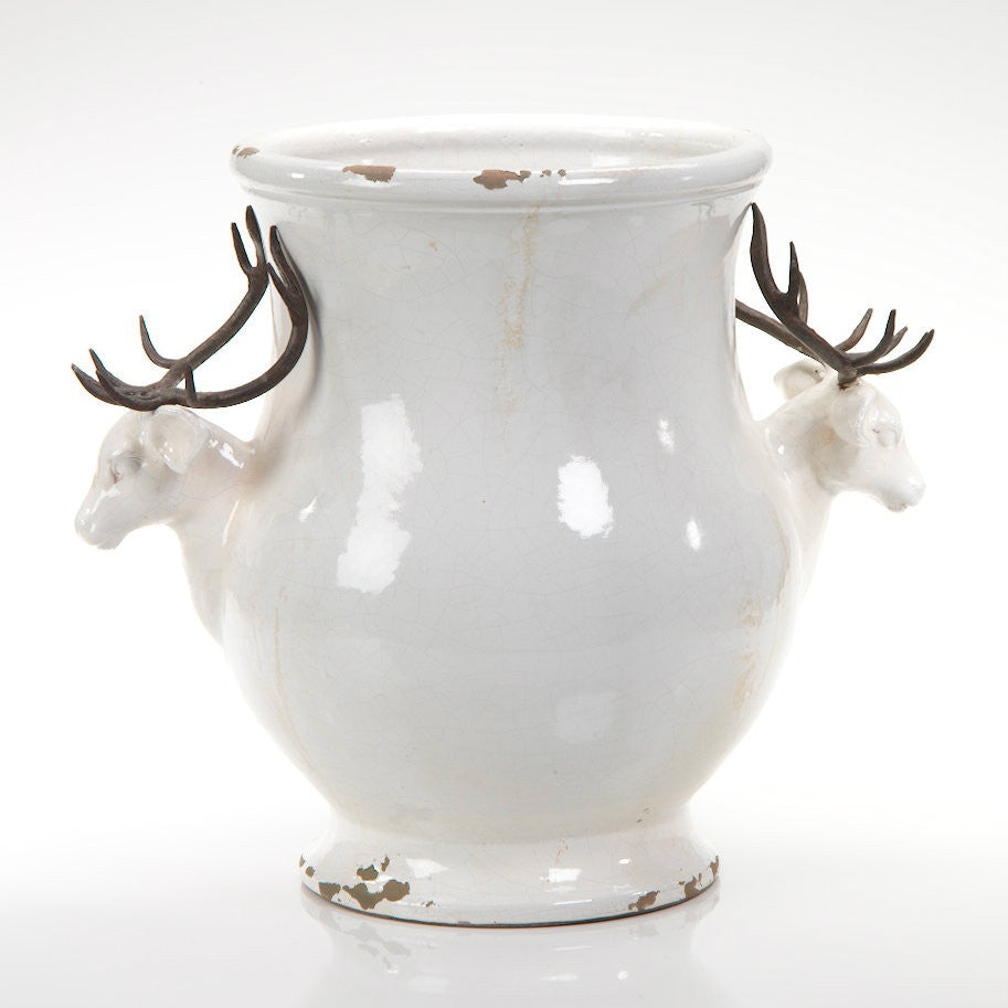 Terracotta Stag Head Footed Vase - CARLYLE AVENUE