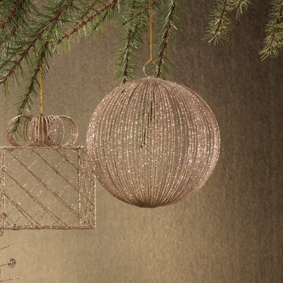 Straight Lines Mesh Ball Ornament - Set of 2