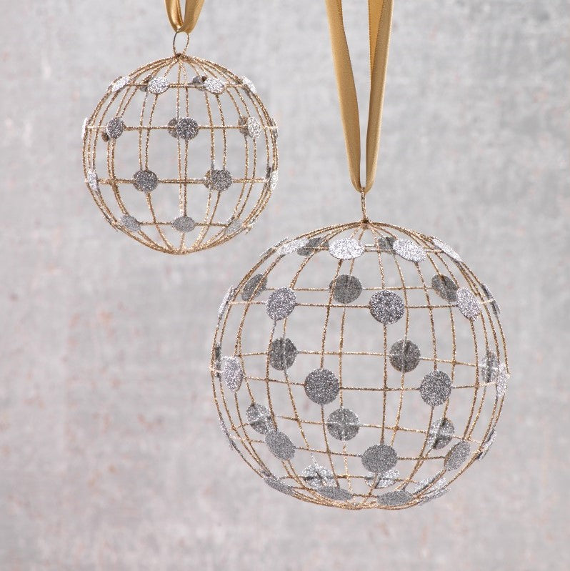 Ball Ornament w/Checkered Pattern and Silver Dots - Set of 6 - CARLYLE AVENUE