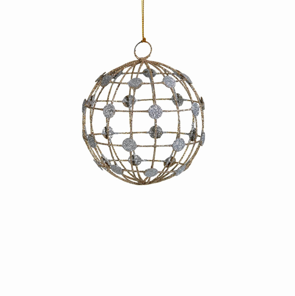 Ball Ornament w/Checkered Pattern and Silver Dots - Set of 2