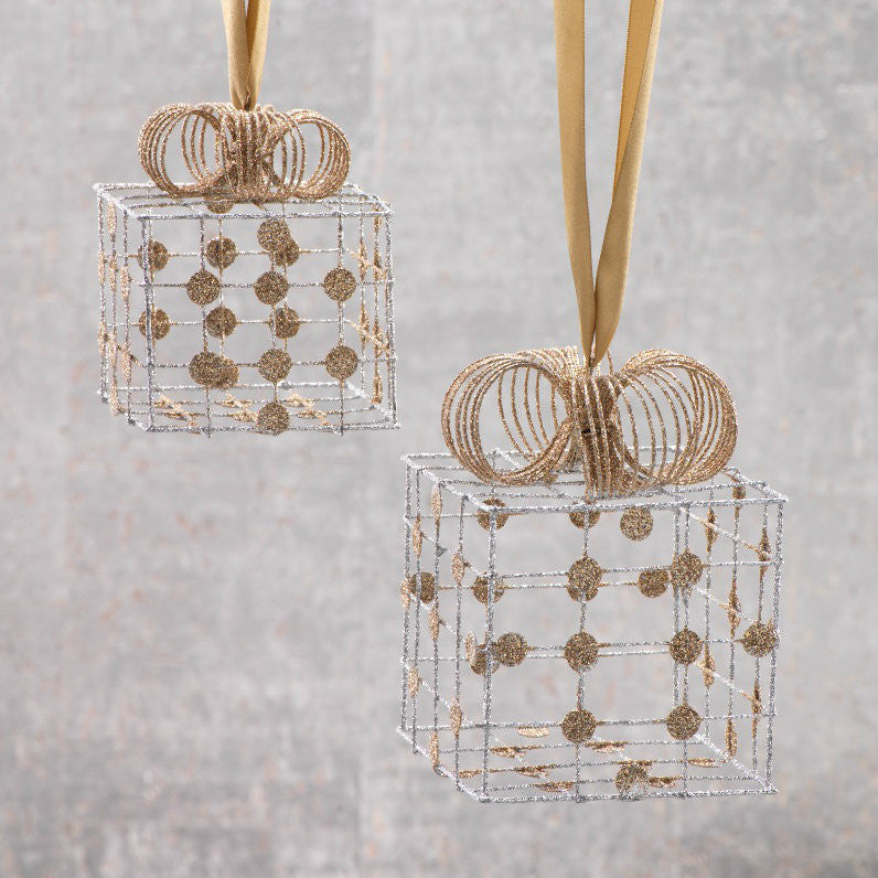 Silver Wire Box Ornaments with Gold Dots - Set of 2 - CARLYLE AVENUE