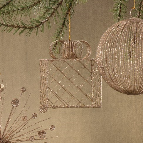 Wire Box Ornament w/ Ribbon - Set of Two