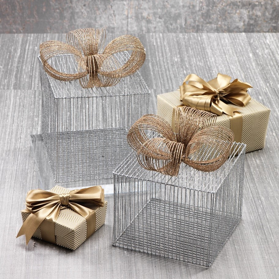 Silver Wire Box w/Gold Ribbon