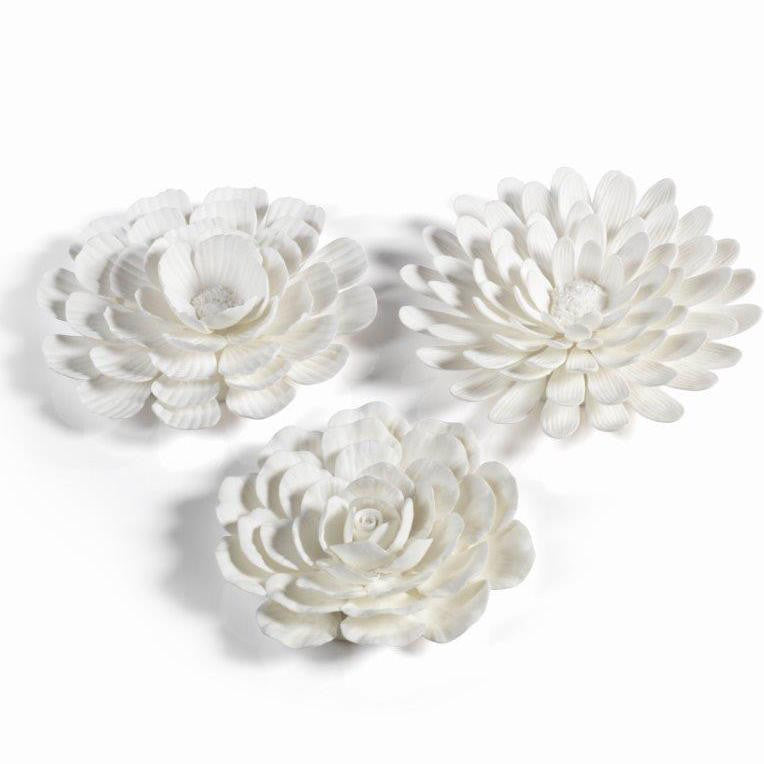 Porcelain Flower Table and Wall Decor - Set of 3 - CARLYLE AVENUE
