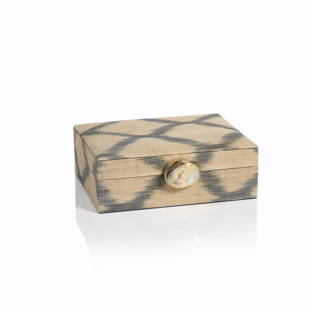 Ikat Storage box with Shell & Brass Accent
