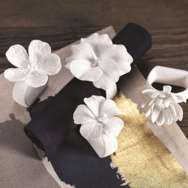 Assorted Bone China Flower Napkin Ring - Set of 4 - CARLYLE AVENUE