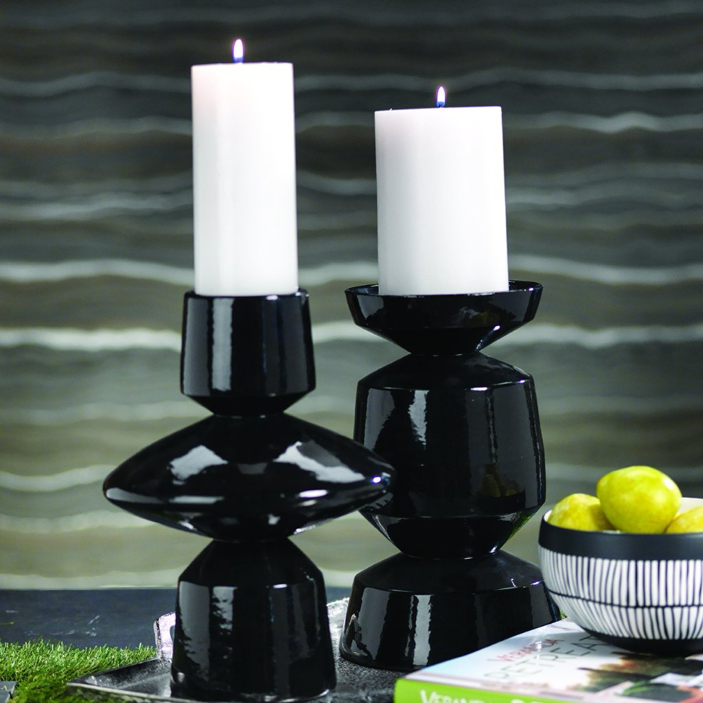 Palm Desert Black Glazed Pillar Holder