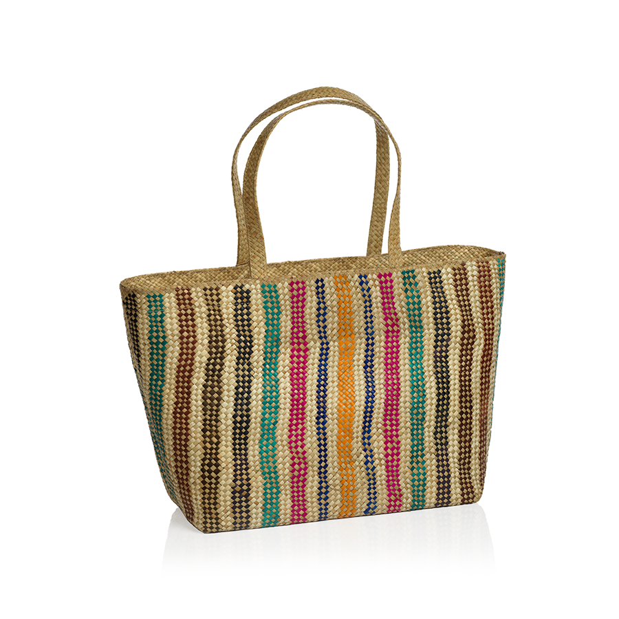 Mia Beach Tote w/Strap Handle - Vertical Rainbow