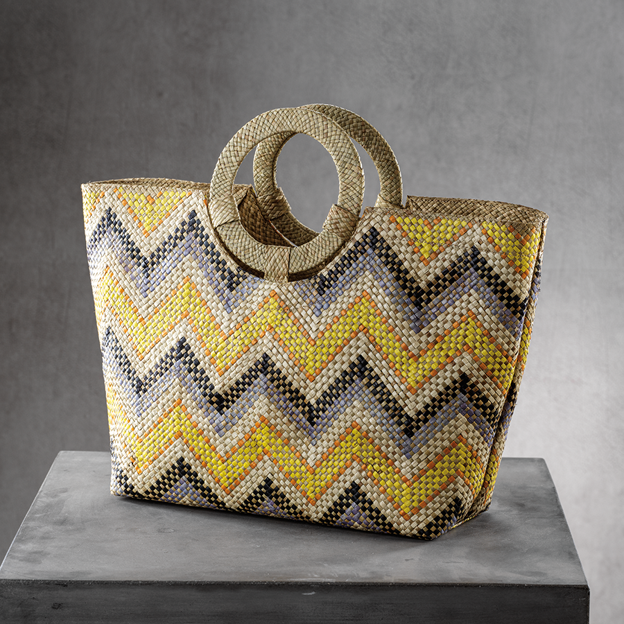 Mia Beach Tote w/Ring Handle - Yellow & Gray Zigzag