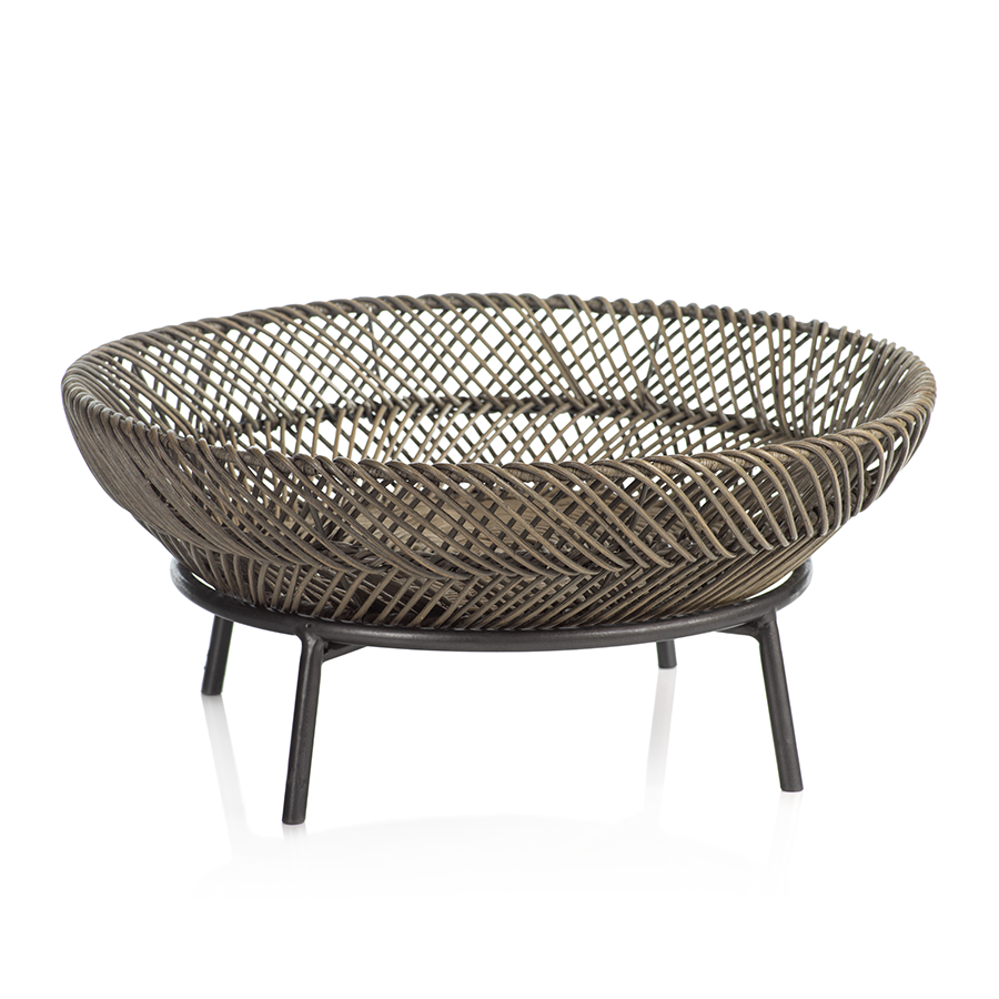 Monteverde Rattan Tray on Metal Stand
