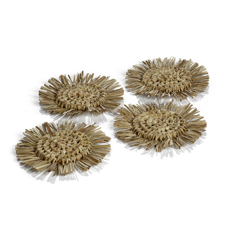 Tropical Pandan Fringed Coasters - Set of 4