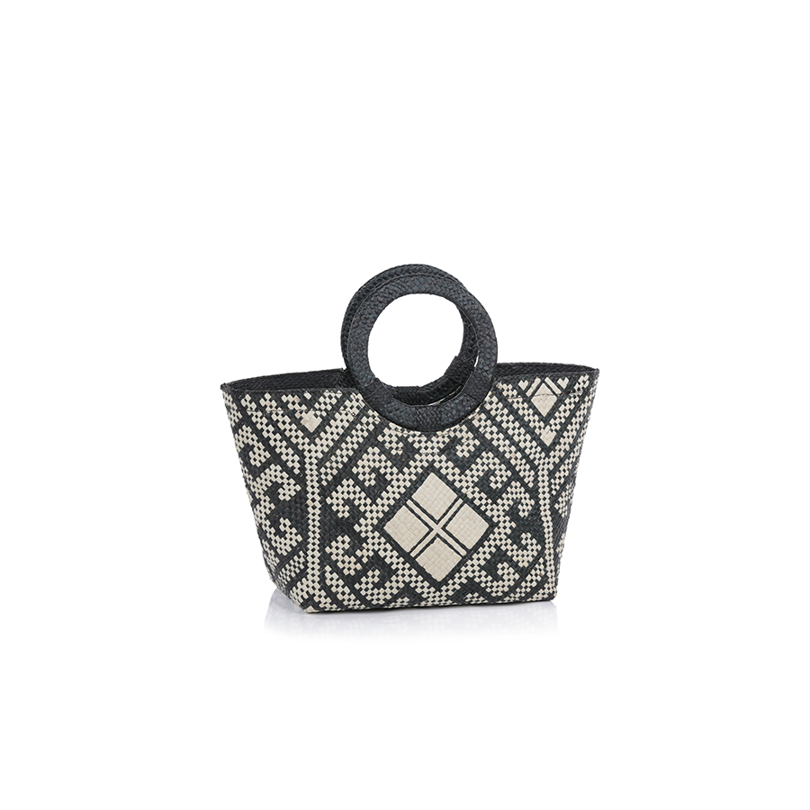 Mia Small Tote w/Ring Handle - Black & White