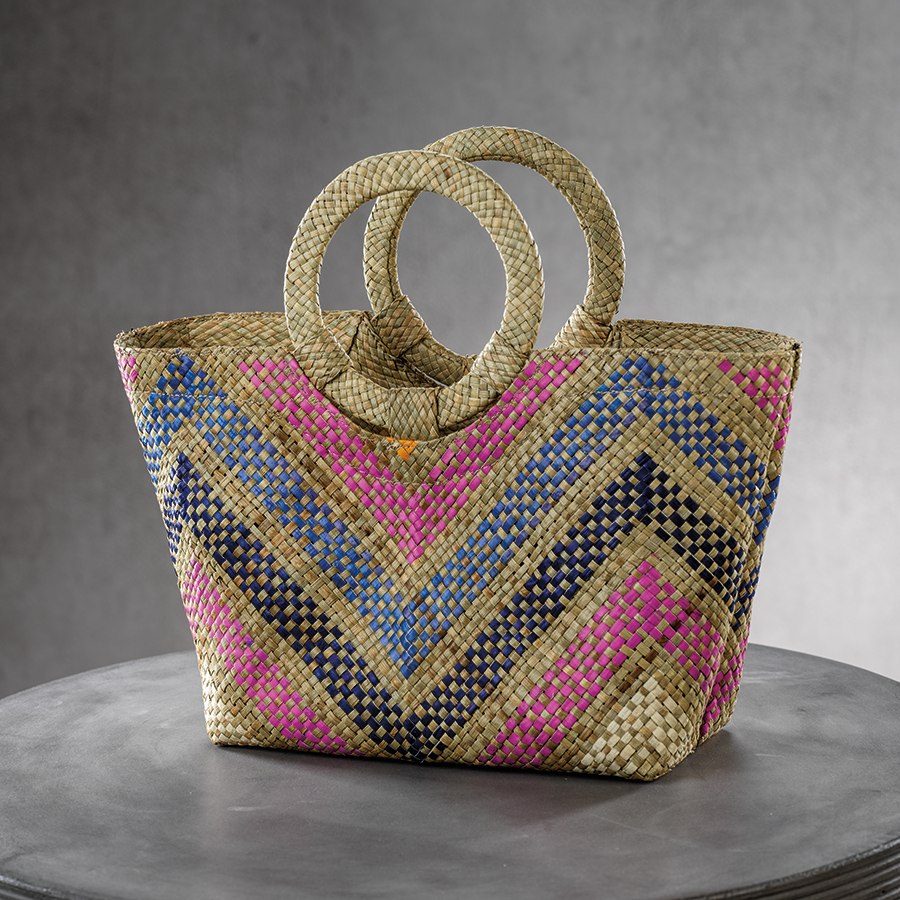 Mia Small Tote w/Ring Handle - Zigzag