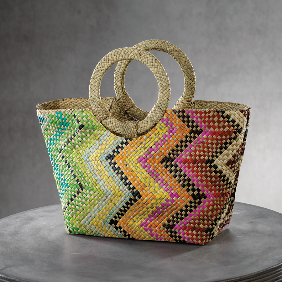 Mia Small Tote w/Ring Handle - Multicolor Zigzag