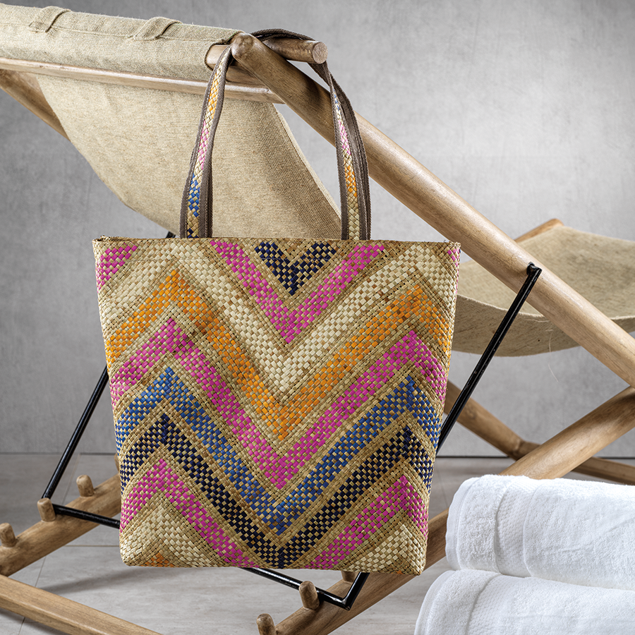 Mia All Purpose Bag - Large Multicolor Zigzag