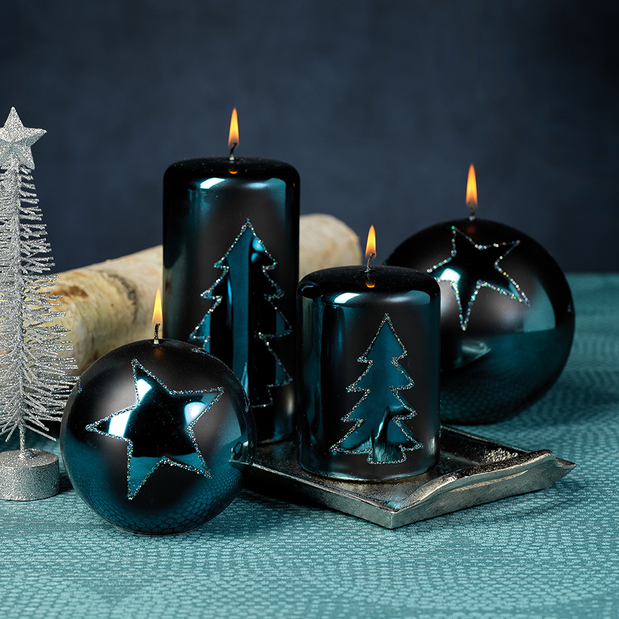 Christmas Design Metallic Candles - Orion Blue
