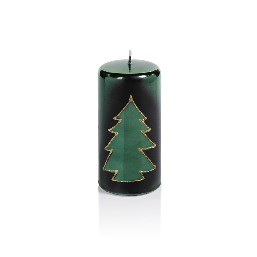 Christmas Design Metallic Candles - Green