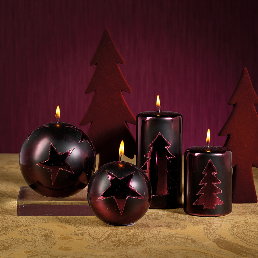 Christmas Design Metallic Candles - Burgundy