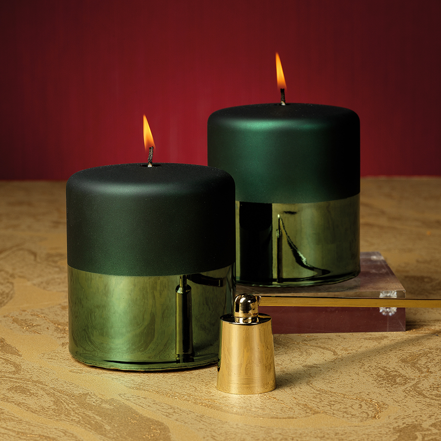 Tonal Metallic Pillar Candle - Green