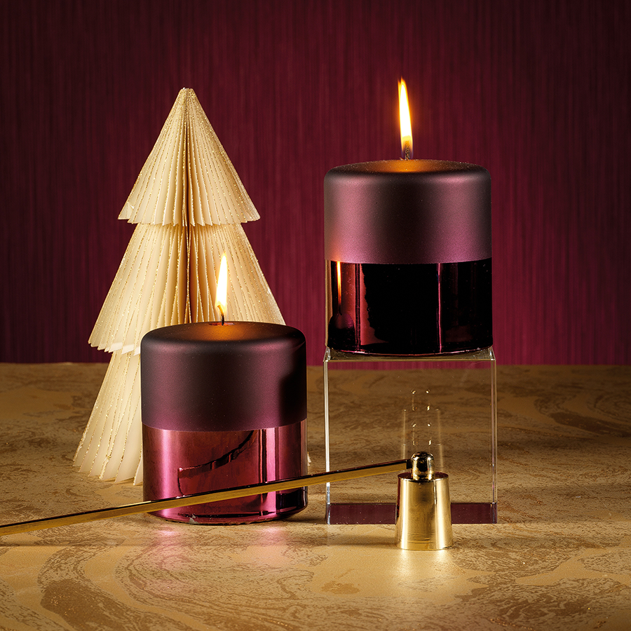 Tonal Metallic Pillar Candle - Burgundy