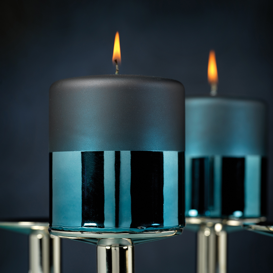 Tonal Metallic Pillar Candle - Blue