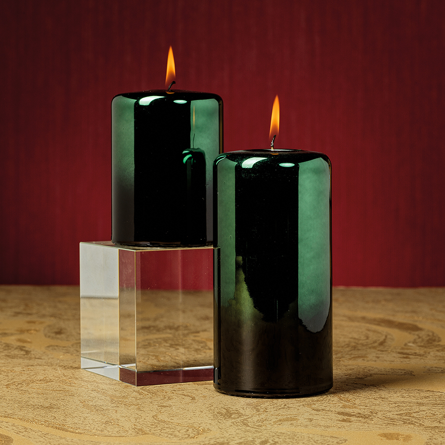 Shaded Metallic Pillar Candle - Green