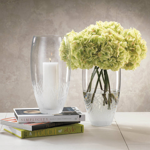 Oval Engraved Glass Vase